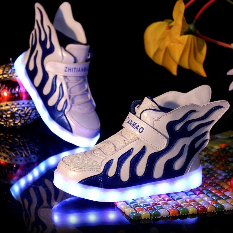 Garçon Fille Rougeoyant sneakers Ange Ailes Lumineux LED Lumière Chaussures Bébé Garçons Casual Led Chaussures Enfants Sneakers Lumière up taille 25-37