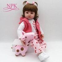 NPK Bebe Reborn Doll 47cm Soft Silicone Reborn Baby Dolls Com Corpo De Silicone Menina Baby