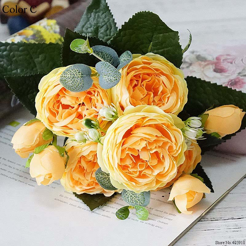 Silk Rose Peony Artificial Flowers Small Bouquet For Wedding Decoration 4
