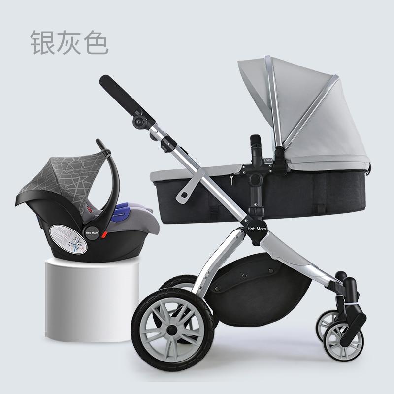 Hotmom 3 in 1 stroller luxury high landscape baby pram light light folding shock children's trolley все цены