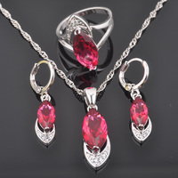 FAHOYO Fashion New Rose Red Zircon Women's 925 Sterling Silver Jewelry Sets Earrings/Pendant/Necklace/Rings QZ0428