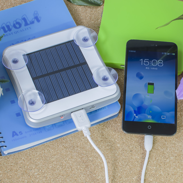 High quality portable solar mobile phone charger 5200mah Square Suckers Style Solar Charger Standard USB Solar Power Bank