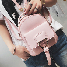 Женщины Рюкзак Новая мода Повседневная Кожа PU Ladies fe Mini ne рюкзак конфеты Color Корея школа Style Твердые Студент MINI Рюкзак