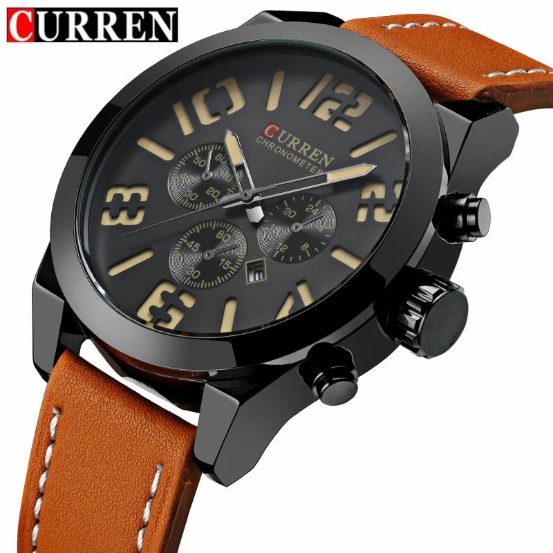 Prix pour Curren Montres Hommes De Mode de Montre de Sport De Luxe Marque En Cuir Casual Montre Automatique Date de Montre-Bracelet Relogio Masculino Mâle Horloges