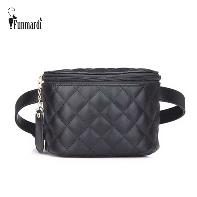 FUNMARDI Brand Quilted Leather Waist Packs Luxury Women Waist Bags Star Style Leather Bag Small Fashion Women Bag New WLHB1728