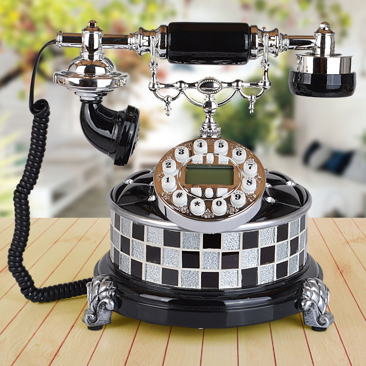 The new high end European telephone landline telephone glass craft antique retro fashion phone Decoration home Dial number
