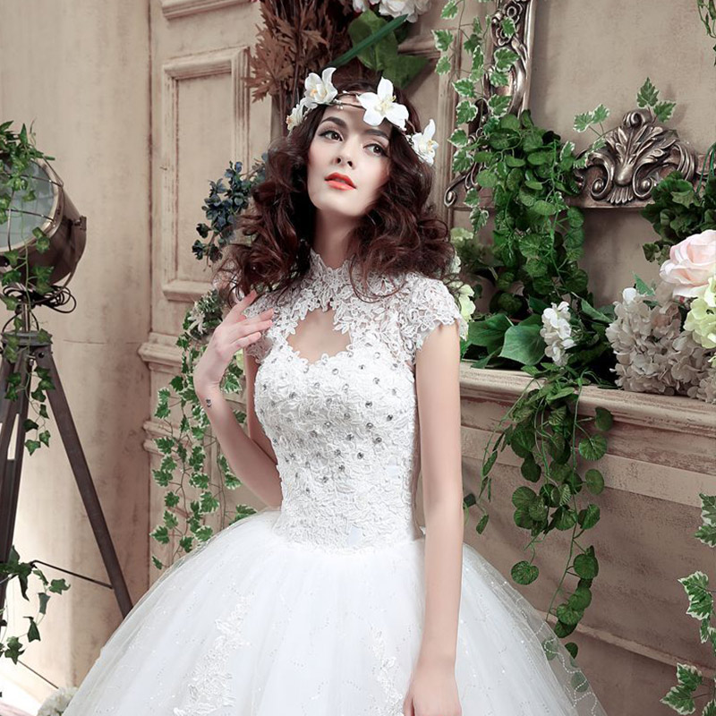 Hot Ladies Wedding Dress Solid Short Sleeves Embroidery Wedding Gown for Women FQ-ingHot Ladies Wedding Dress Solid Short Sleeves Embroidery Wedding Gown for Women FQ-ing