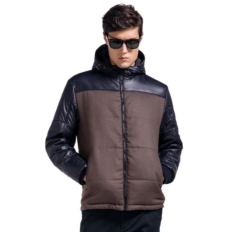 Lesmart Men's Winter Coat Jacket New Brand Contrast Color Patchwork Padded Fashion Casual Business Thicken Hooded Outerwear