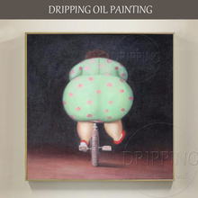 Gifted Artist Hand-painted High Quality Fat Ass Woman Oil Painting on Canvas Funny Woman with Big Ass Cycling Oil Painting