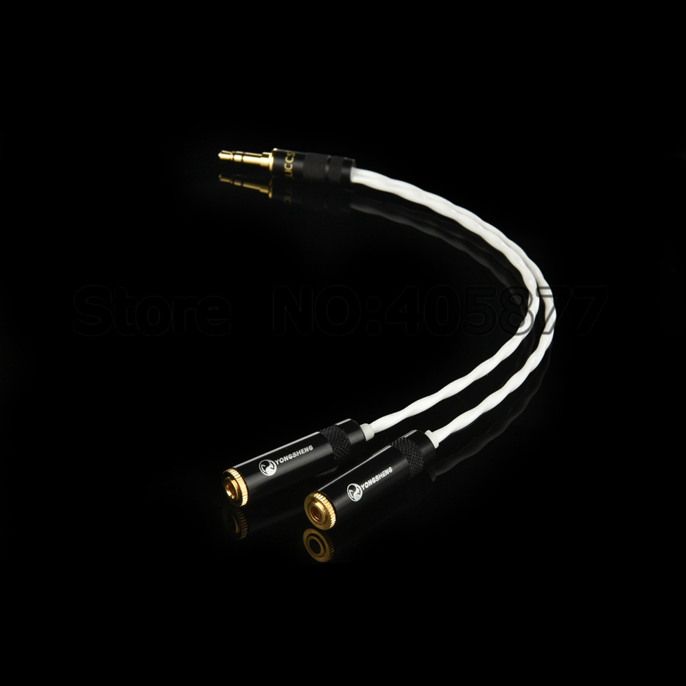 One Piece Y-Splitter 1 male to 2 Female 3.5mm Stereo Audio Adapter Audio Cable For PC