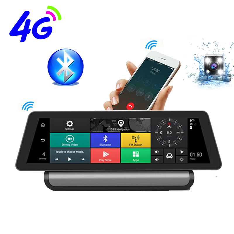 10 Inch 4G IPS Android 5.1 WIFI FHD 1080P Dual Lens Registrar Parking Monitoring Bluetooth ADAS Car GPS DVR Camera Navigation