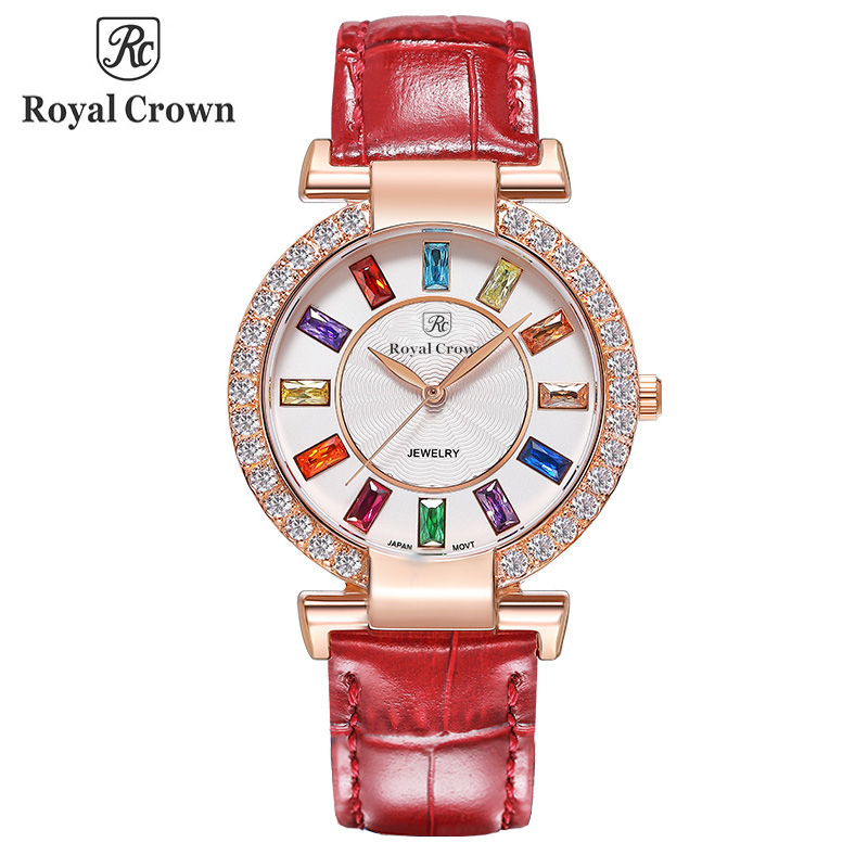 Royal Crown Large Lady Women's Watch Japan Quartz Crystal Hours Fine Fashion Dress Bracelet Leather Luxury Rhinestone Gift Box 12 years a slave
