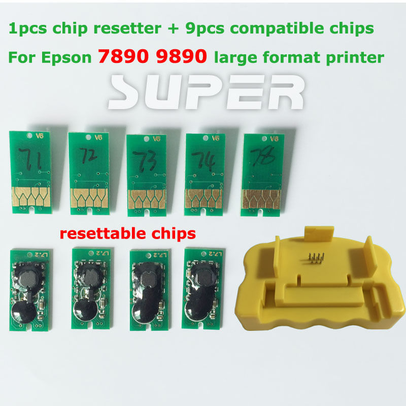 ФОТО 1PCS Chip Resetter + 9PCS for Epson 7890 9890 Compatible Chips Resettable Chips