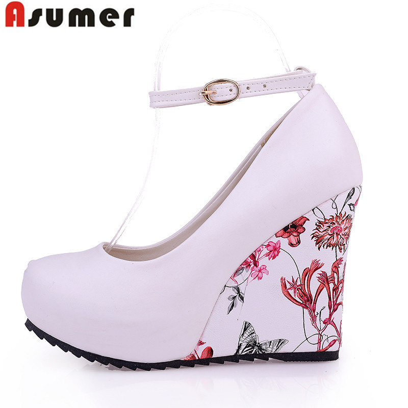 ASUMER Fashion Women Pumps 2018 High Heels Wedges Platform Summer Pumps For Women Elegant Flower Print Wedge Wedding Shoes hot sale 2018 new fashion wedge gladiator platform sandals women flower rhinestone summer pumps crystal wedding high heels shoes