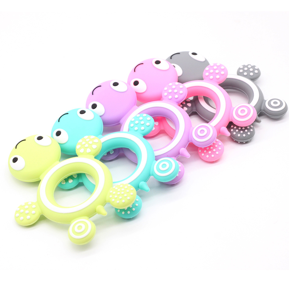 1pc Silicone Tortoise Baby Teether Lovely Diy Teething Necklace Accessories Baby Shower Food Grade Silicone Teether