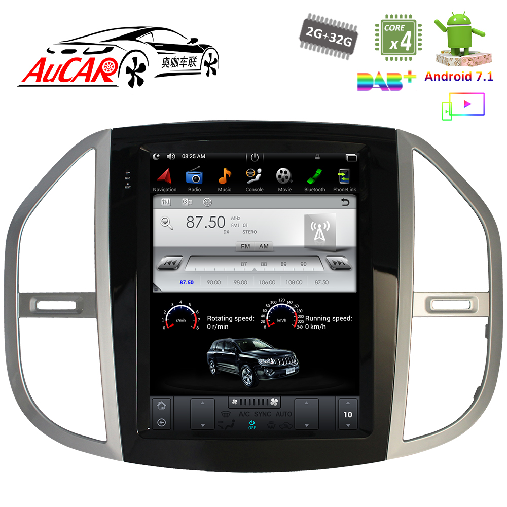 Android 7.1 Tesla Style for Mercedes Benz Vito 2016 2018 car gps navigation Radio WIFI 4G Vertical Stereo car dvd player