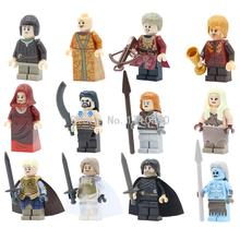 12pcs/lot Game of Thrones Mini Figure Jon Snow White Walker Ice Lepin Building Blocks Toys Gifts For The New Year Legoed
