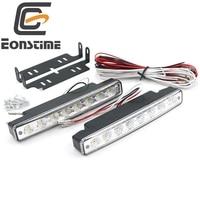 Universal 2 PCS 12V Car 8 LED DRL Driving Daytime Running Day LED Light Head Lamp