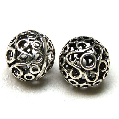 50 pcs designed antique silver hollow metal cast filigree round bead 20*20mm