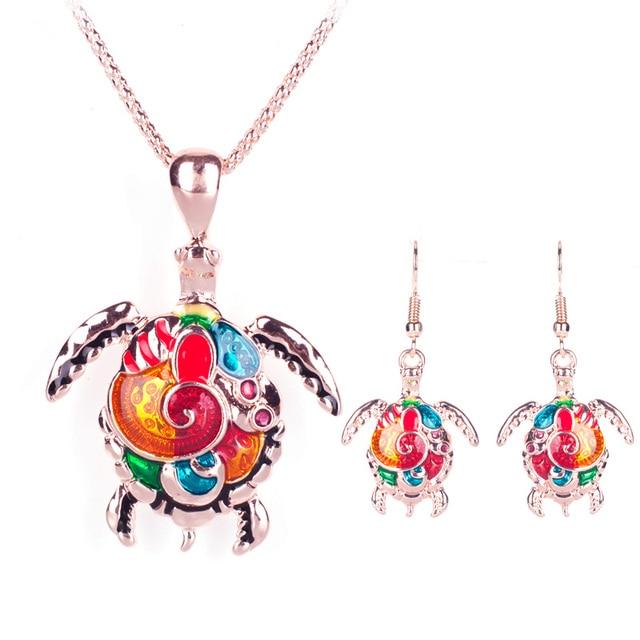 Women's Enamel Turtle Necklace and Earrings Set 3