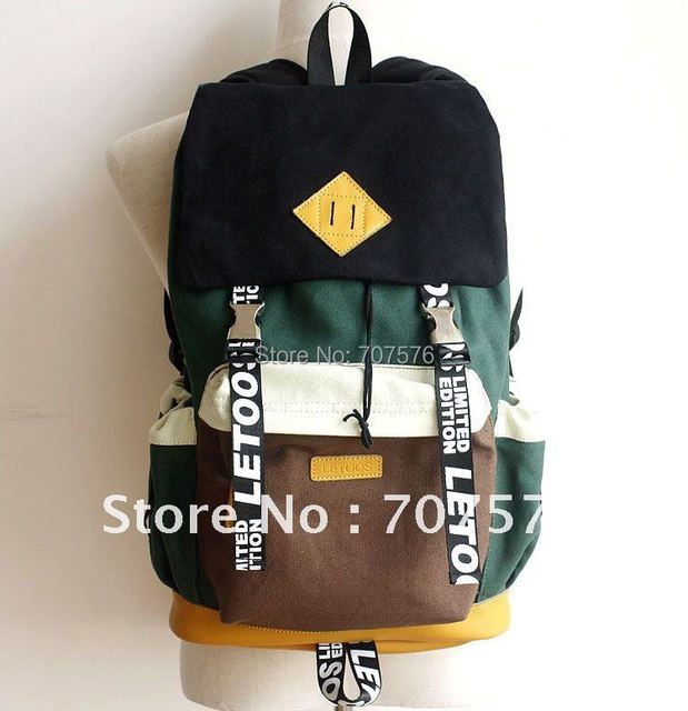 Authentic Bag Real leather /Canvas laptop Backpack Korean Dubble Shoulder School Backpacks Pig Nose  Leisure Bags GS014