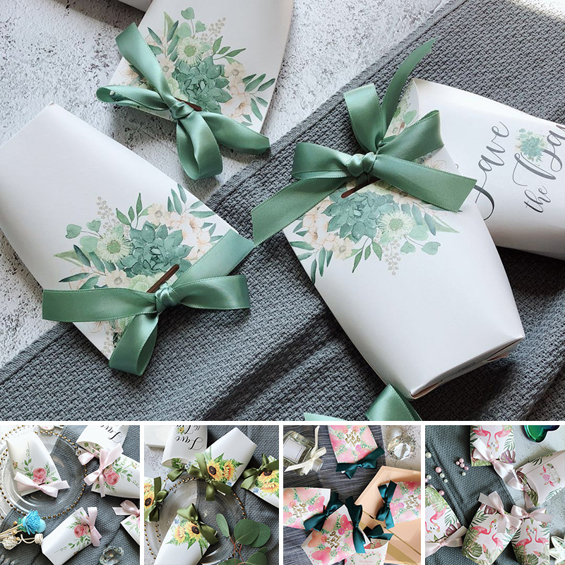 Hot Sale Candy Box 5PCS/Lot Birthday Baby Shower Gift Boxes Sugar Case Party Supplies Wedding Favors Candy Bag With Ribbon