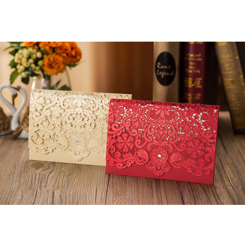 25pcs Gold Red Laser Cut Luxury Flora Wedding Invitations Card Diamond Baby Shower Wedding Decoration Event Party Supplies 1 design laser cut white elegant pattern west cowboy style vintage wedding invitations card kit blank paper printing invitation