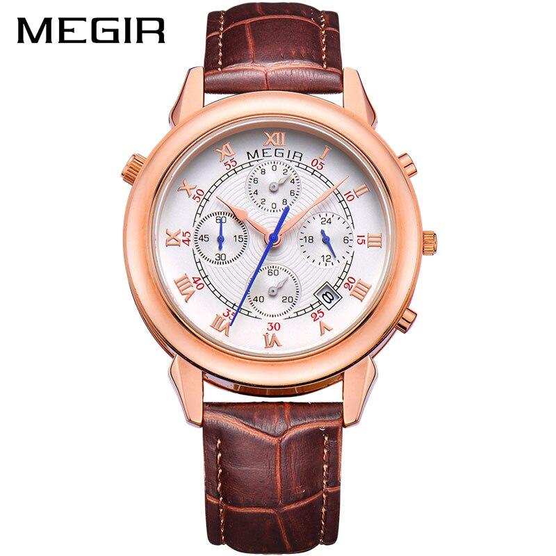 все цены на  MEGIR Original Military Watch Men Quartz Wristwatch Clock Genuine Leather Bracelet Roman Dial Classic Watches Relogios Masculino  в интернете