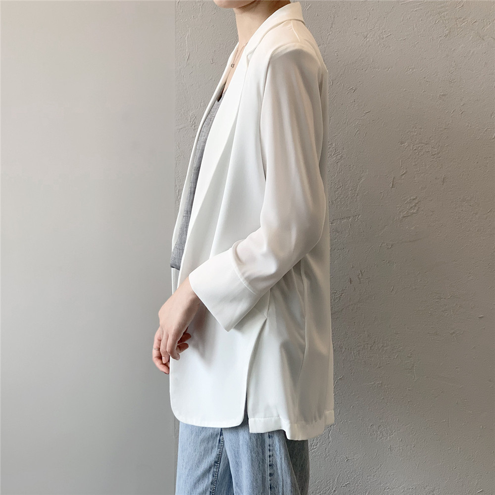 Summer Women Office Thin Suit 2019 Small Long Sleeve Chiffon Suit Jacket Women`s Autumn Work Blazer Suit All Match Suit Y0506 (27)