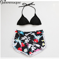 Janesamque Sexy Bikini Set Cross Bandage Swimsuit Push Up Floral Women Swimwear Low Waist Beachwear Bathing Suit Brazilian