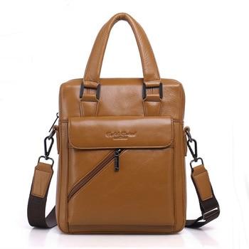 Men Fashion Men Genuine leather Cowhide Business Handbag Messenger Single Shoulder Bag Cigarette Bag Handbags