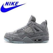 e575e180 Новое поступление Nike Оригинальный официальный KAWS x Air Jordan 4  холодный серый дышащие Для мужчин Мужская баскетбольная обув.