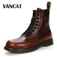 Vancat 2018 New Autumn Winter Cow Split Leather Men Boots Lace Up Keep Warm Plush Snow Boots Motorcycle Ankle Boots Men Shoes