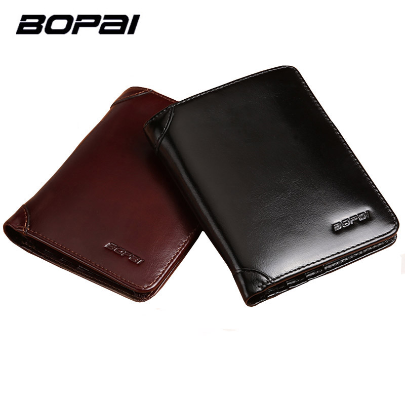 BOPAI Brand Genuine Leather Men Wallet Short Soft Card Holder Designer Wallet Cowhide Leather Wallet Male Three Fold Men's Purse vintage designer men genuine cowhide leather wallet male short coin purse card holder small wallet mini photo holder removeable