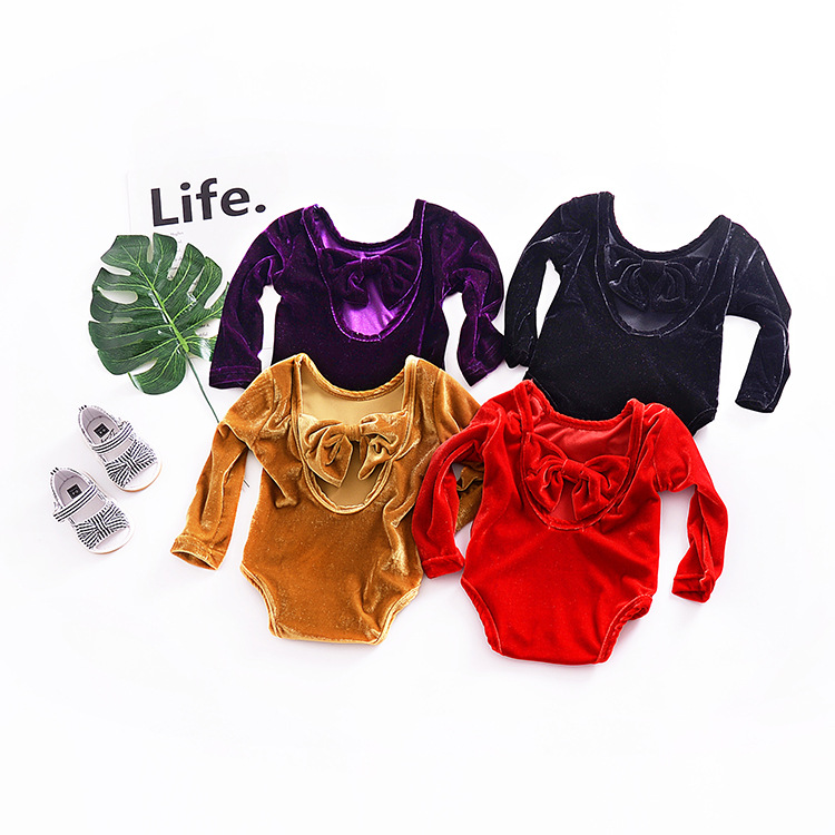 59c12dbe480c Children s Girls rompers bowknot baby one pieces long sleeve Gold velvet  body suits for girls clothes kid Retro party suit