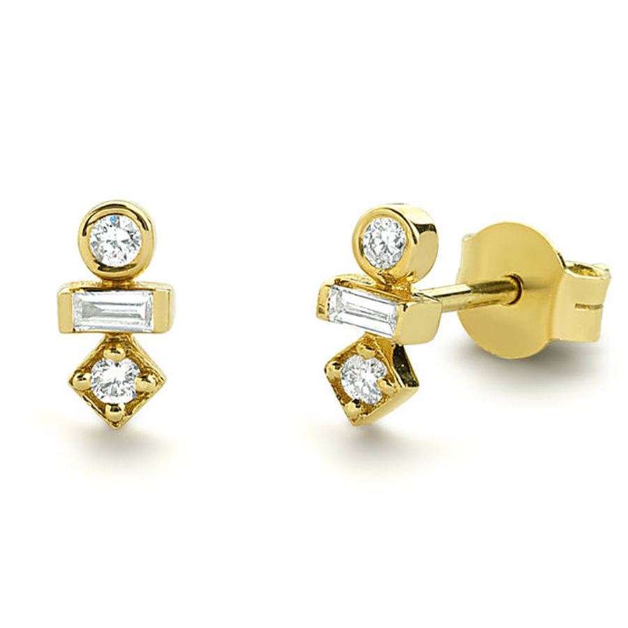 Moissanite Earrings Lab Diamond Stud Earrings 14k Yellow Gold Round and Emerald Cut Push Back Earrings Bridal or Birthday Gift 14k yellow gold over 2 ct d vvs1 round cut stud earrings