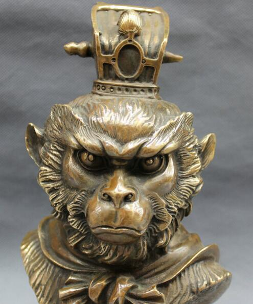Chinese Bronze Great Sage Equalling Heaven Sun WuKong Monkey King Head Statue statue