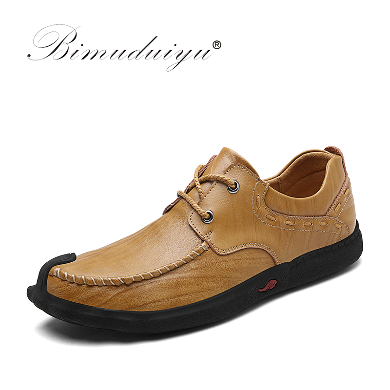 BIMUDUIYU Handmade Cow Leather Men Shoes Autumn Business Breathable Mens Casual Shoes High Quality Lace Up Oxfords Flat Shoes bimuduiyu new england style men s carrefour flat casual shoes minimalist breathable soft leisure men lazy drivng walking loafer
