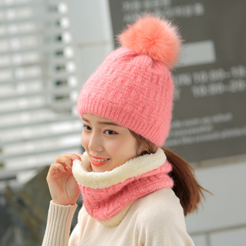 HT1477 New Fashion Women Winter Hats And Scarf Sets Thick Warm Wool Knitted Hats Scarf High Quality Fur Pompoms Hats Lady Beanie