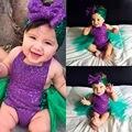 Sequin Meninas Sunsuit Romper Sereia Tule Romper Headband Outfits Roupa Do Bebê 2016 NOVA Moda