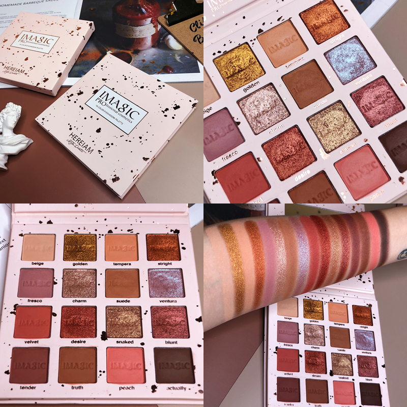 Amazing Centre 16 Colors Eyeshadow Palette Glitter Shimmer Matte Pallete Pigmented Warm Makeup