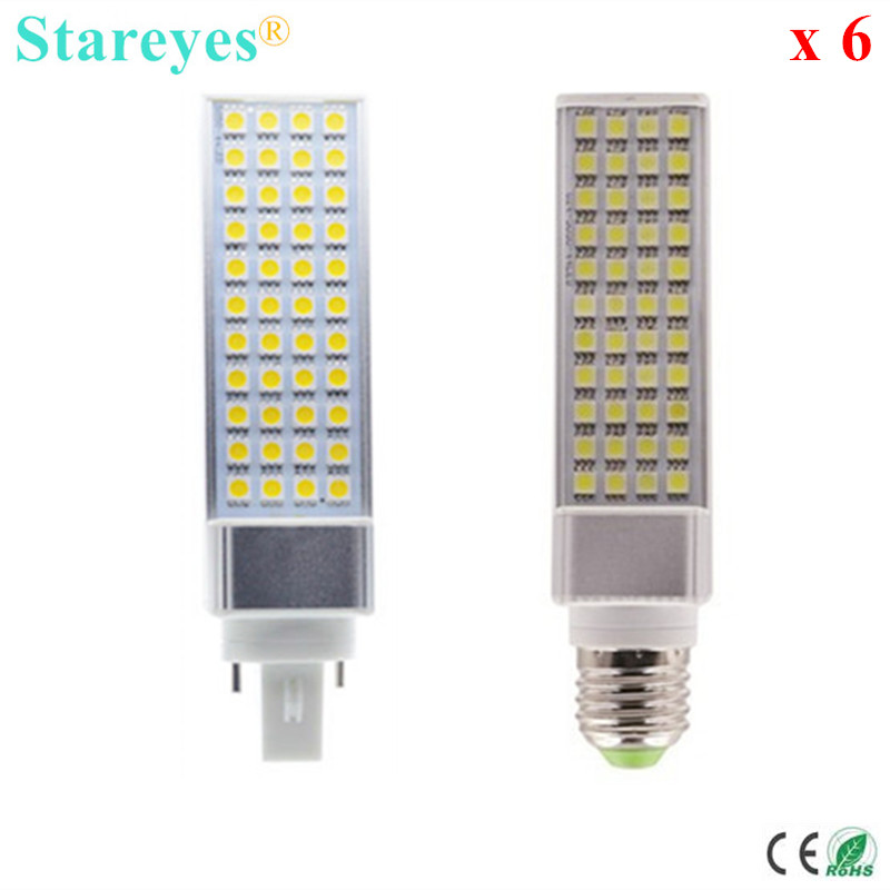 Free Shipping 6 pcs G24 G23 E27 LED PLC Bulb SMD 5050 44 LED 9W PL