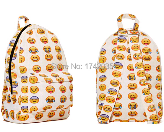 957e354f61 East Knitting 2015 New Emoji Backpack Canvas QQ Emoji Printing Backpacks  Cute Men s backpacks Original Design Women Backpack