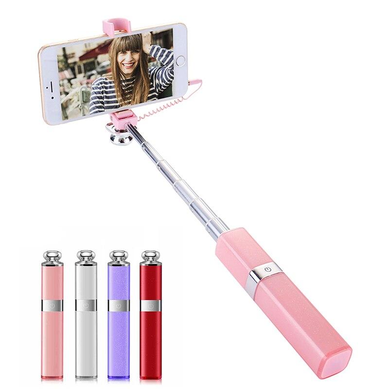 Ulanzi Mini Selfie Stick Wired Bluetooth for iPhone X 8 7 6 plus Samsung Xiaomi Hauwei Extendable Monopod for Phone for iphone xs max xr xs x selfie stick for iphone x 8 7 6 6s plus 5 5s wired selfie stick extendable monopod for lightning