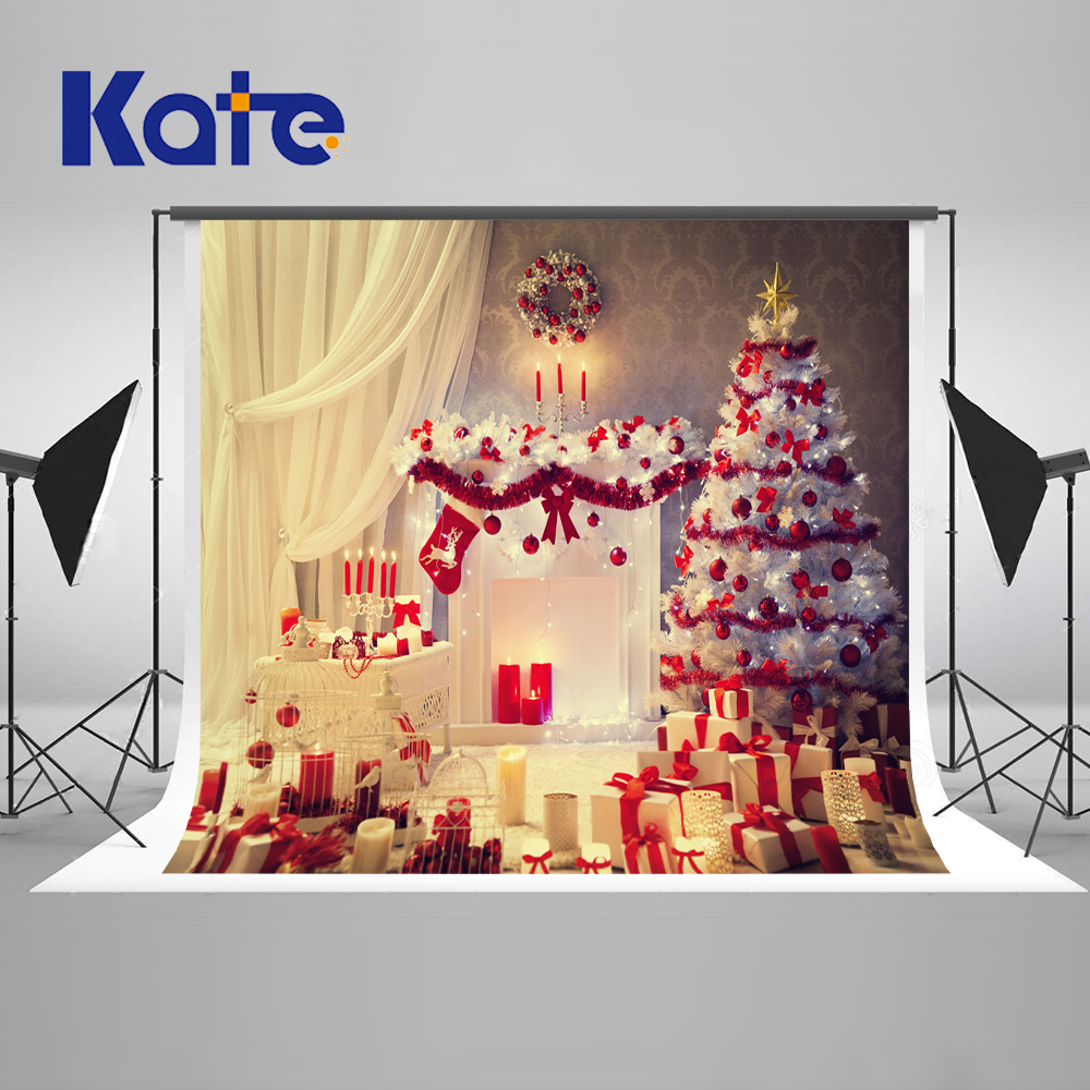 Kate Christmas Trees Photography Backdrops Happy New Year Custom Backdrop With White Window Curtains Gift Washable Background kate winky stage photography background christmas gift snow fireplace light photography backdrops snow spray chimenea navidad