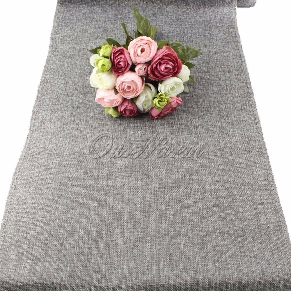 OurWarm Rustikale Natürliche Jute Dekor Tischdecke Imitiert Leinen Tischläufer für Hochzeit Teil Tabelle Decornation Khaki / Grau