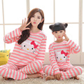Mother and daughter clothes family christmas pajamas striped character sleepwear sets soft cotton family look pajamas homewear