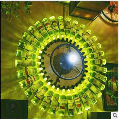 Walnut wine bottle wall lamp wrought iron wall lamp creative bar clothing store music pub wheel wall lamp lamps|LED Indoor Wall Lamps| |  - title=
