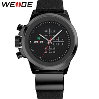 WEIDE Left Handed Watches Black Mens Military Army Watch Genuine Leather Strap Stainless Steel Back 30M Waterproof Gifts For Men