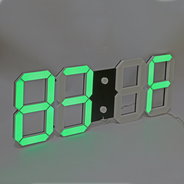 3D Digital LED Wall Clock Large Countdown Count Up Timer with Remote Control Support Alarm Temperature Calendar Settings Green
